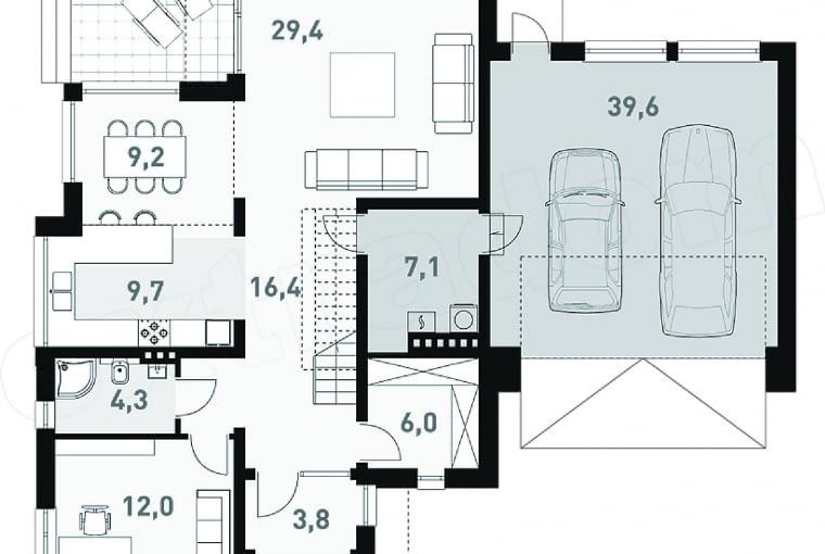 Plan parteru domu: 1. wiatrołap 3,8 m2 2. hol 16,4 m2 3. pokój 12,0 m2 4. łazienka 4,3 m2 5. kuchnia 9,7 m2 6. jadalnia 9,2 m2 7. pokój dzienny 29,4 m2 8. kotłownia 7,1 m2 9. pom. gospodarcze 6,0 m2 10. garaż dwustanowiskowy 39,6 m2