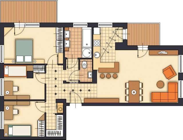 Projektowanie. Propozycja 2. Ten wariant urządzenia mieszkania zakłada radykalniejsze zmiany - dotyczą one głównie części prywatnej, w której znajduje się sypialnia rodziców i pokoje dzieci. W strefie dziennej kuchnia, tak jak w poprzedniej wersji, została połączona z pokojem. Inaczej jednak zaprojektowałam jej zabudowę.