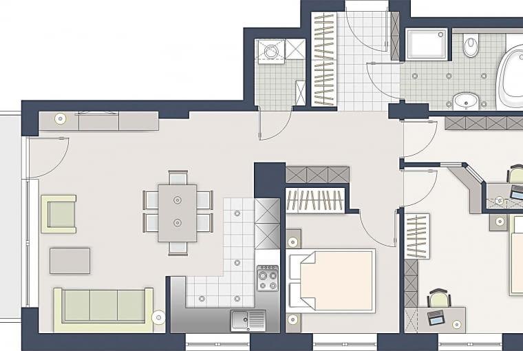 Rozwiązanie 2: Gabinet powstał kosztem średniego pokoju, który przeznaczyłem dla dziecka. Aby te dwa pomieszczenia miały osobne wejścia, zmniejszyłem także sypialnię rodziców.