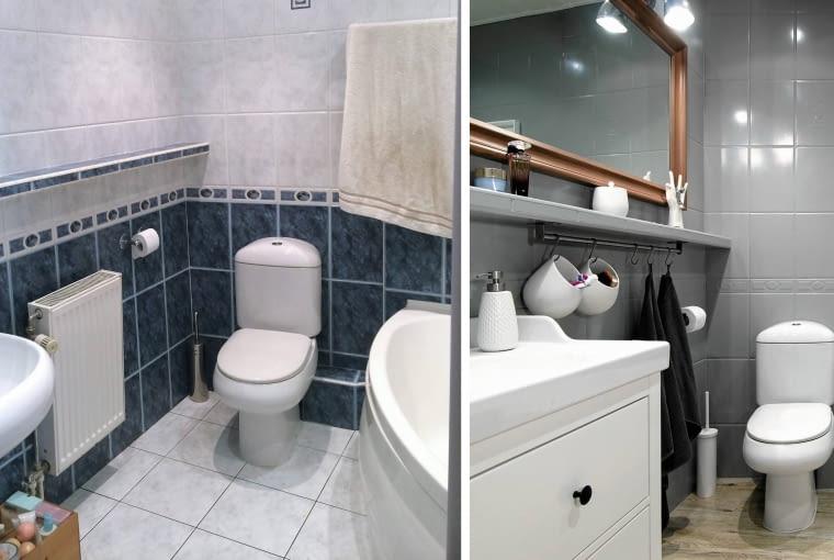 Łazienka przed metamorfozą i po.