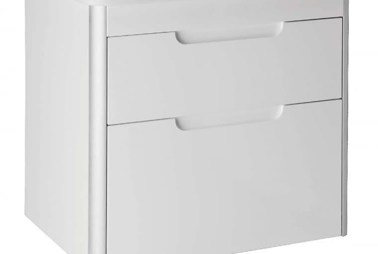Dama-N/ROCA. Kompaktowy zestaw Unik, składający się z umywalki ceramicznej (55 x 46 cm) z otworem na baterię w środku, oszczędzającego miejsce syfonu oraz podwieszanej szafki z dwiema szufladami. Cena (netto): 1170 zł, www.roca.pl