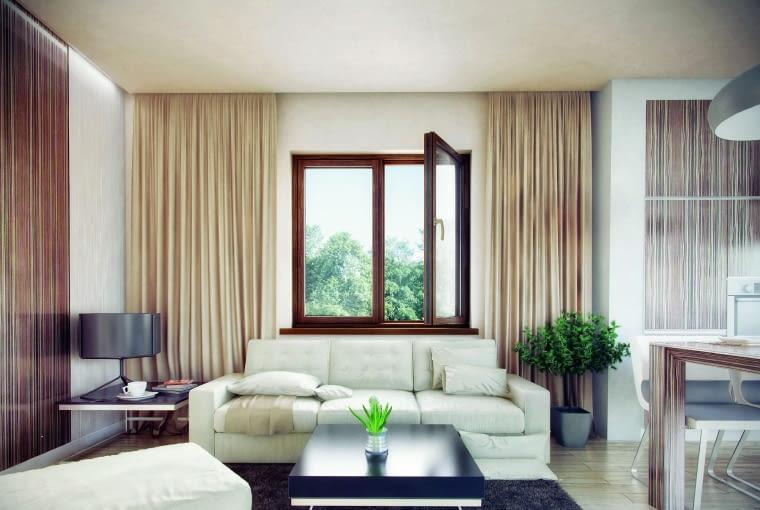 Okna drewniane robi się z drewna klejonego warstwowo, co zapobiega ich paczeniu się pod wpływem zmian temperatury i wilgotności
