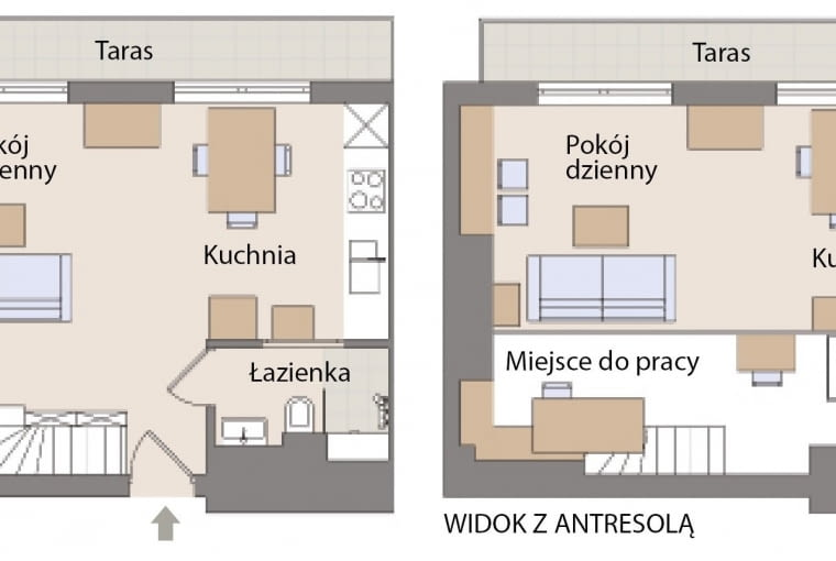 Plan mieszkania: 43 m. kw.
