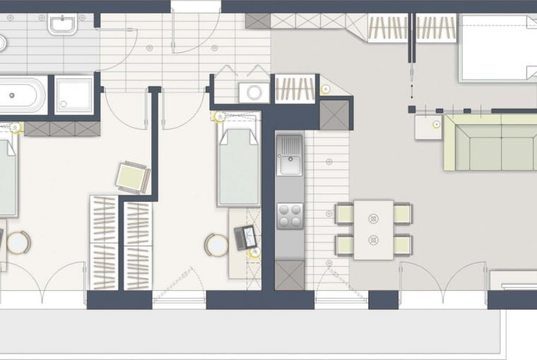 Rozwiązanie 2: Niewielką sypialnię, zamykaną przesuwanymi drzwiami, wydzieliłem w pokoju dziennym. Jest bez okna, trzeba więc zadbać o jej doświetlenie i wentylację.
