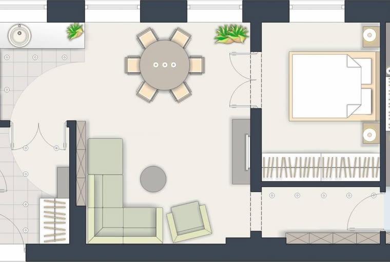 Rozwiązanie 2 <BR />Rozkład mieszkania stanowi duże utrudnienie w jego modernizacji. W tej wersji największa zmiana dotyczy łazienki, którą znacznie powiększyłem.