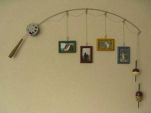Miłośnicy wędkarstwa mogą wykorzystać stare wędki do niebanalnej ekspozycji zdjęć.