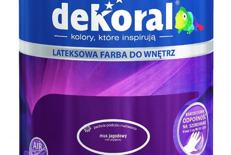 Akrylit W kolor/DEKORAL| Rodzaj: farba lateksowa | wydajność: do 14 m2/l przy jednej warstwie | odporność na szorowanie: klasa 3 wg PN-EN-13300 | 77 kolorów | stopień połysku: matowa | opakowania: 2,5 l, 5 l. Cena: 64,42 zł/2,5 l; 118,74 zł/5 l, www.dekoral.pl