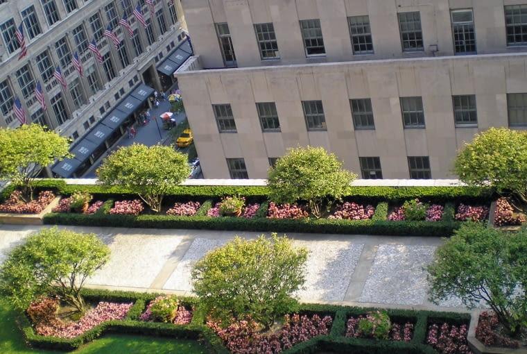 Ogrody na dachach Rockefeller Center.