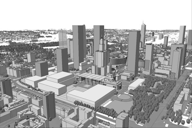 Panorama placu Defilad po wybudowaniu wieżowców według planu miejscowego