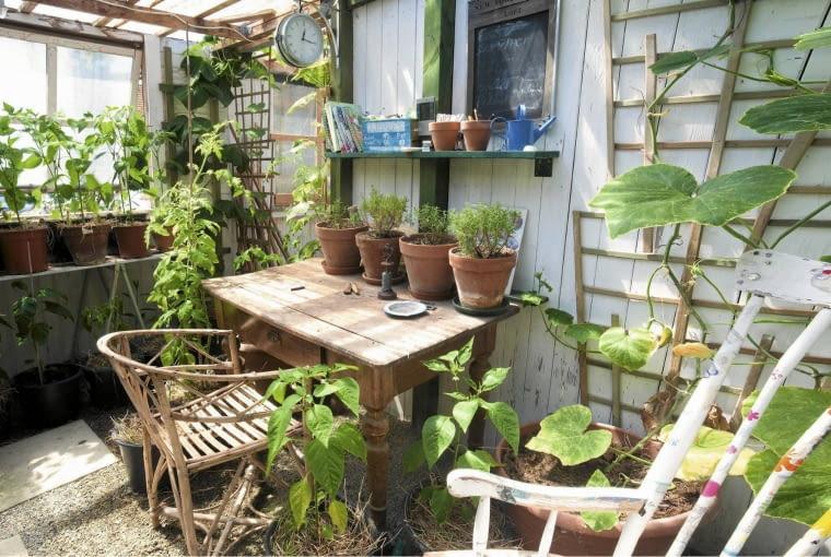 4. U ogrodnika Przy tym stole z pewnością powstało wiele pomysłów na jeszcze piękniejszy ogród. Praca ogrodnika polega przecież nie tylko na działaniach w terenie, ale też na nieustannym planowaniu i tworzeniu wciąż nowych projektów. Miłośnik roślin nie może się obyć bez fachowej lektury, po którą w każdej chwili powinien móc sięgnąć.