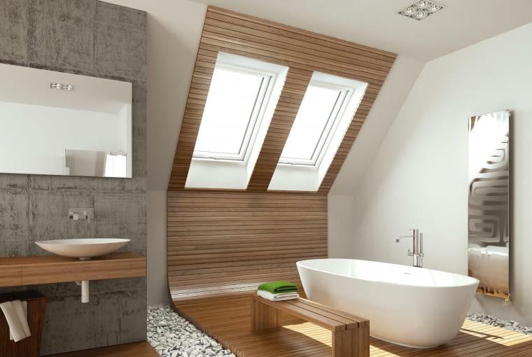 łazienka na poddaszu, okna dachowe, wanna