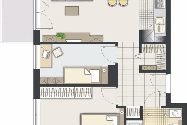 Rozwiązanie 1 <BR />Kuchnia została przeniesiona, a w jej miejscu powstał nowy pokój - niewielki, ale za to z oknem. Na razie może pełnić funkcję gabinetu, potem zamieszka w nim dziecko.