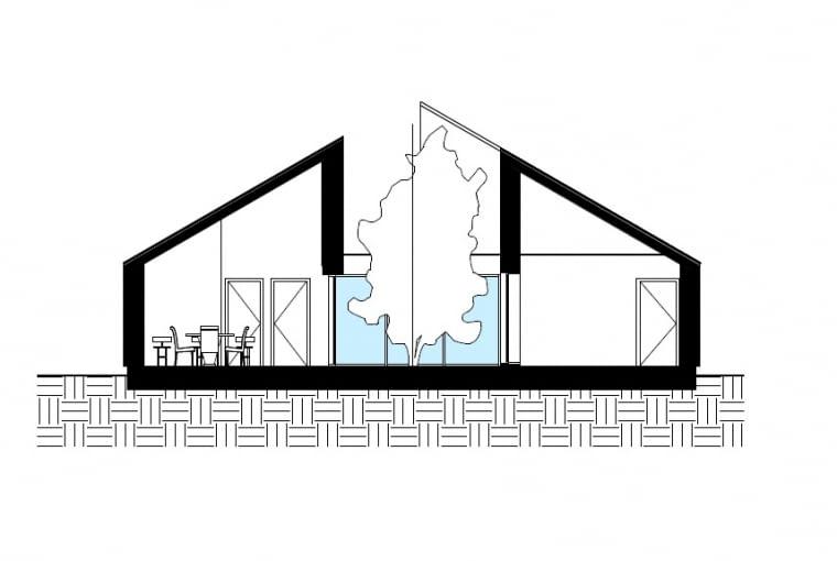 Projekt koncepcyjny parterowego domu atrialnego - przekrój.