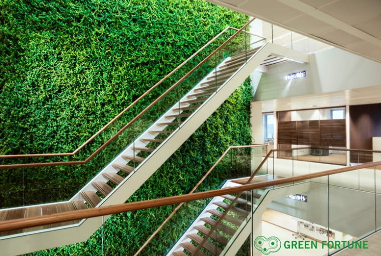 Zielone ściany w biurze Den Haag, Holandia