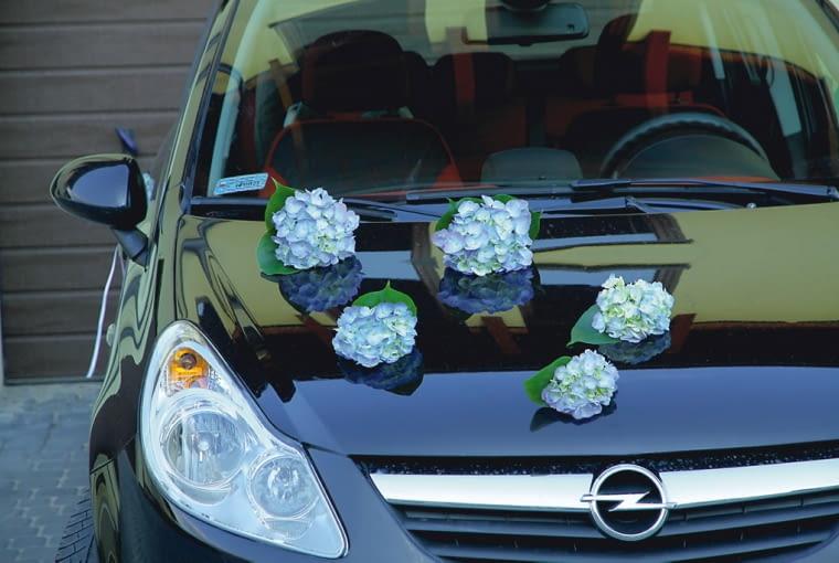 """Samochód do ślubu - dekoracja """"delikatny błękit"""""""