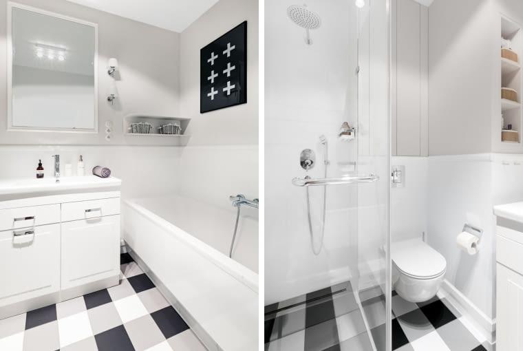 W jasną, ale stosunkowo niedużą łazienkę udało się zgrabnie wkomponować zarówno wannę jak i prysznic. Początkowo był tu tylko prysznic. Klasyczna biało-czarna krata, tym razem nie na spódniczce ani tapecie, ale płytkach podłogowych. Oryginalnie.