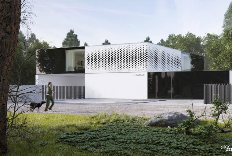 Budynek z drugą wersją elewacji z panelami ażurowymi