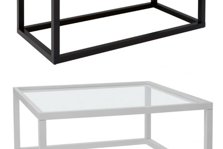 Stoliki Modai mogą mieć blat pełny albo szklany (szkło przezroczyste lub grafitowe).