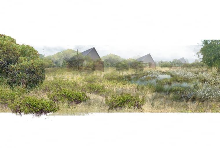 Wizualizacja ogrodu - Mikrodomy we wsi Całowanie