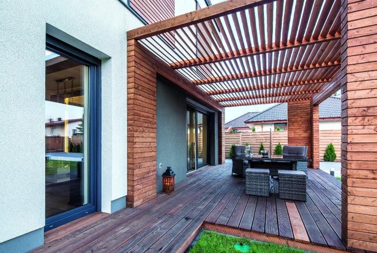 dom nowoczesny, dom pasywny, taras, pergola