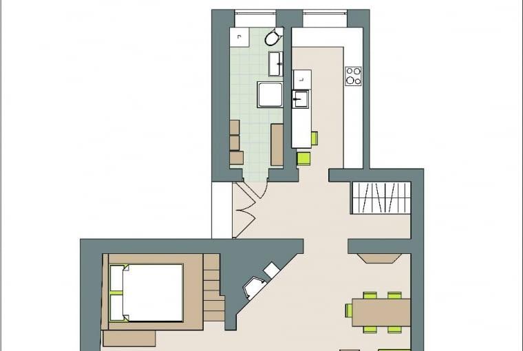 Rzut oka na plan: 2 pokoje wGliwicach, domownicy: Kasia i Wojtek zdwoma kotami i dwoma psami