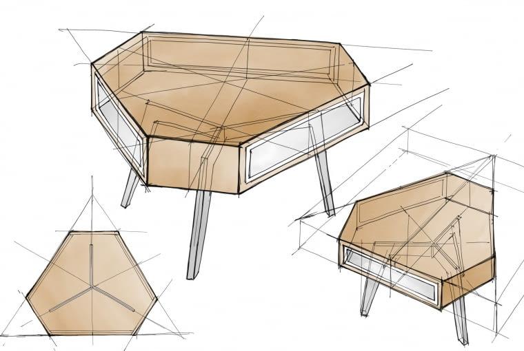 Szkice koncepcyjne stolika kawowego