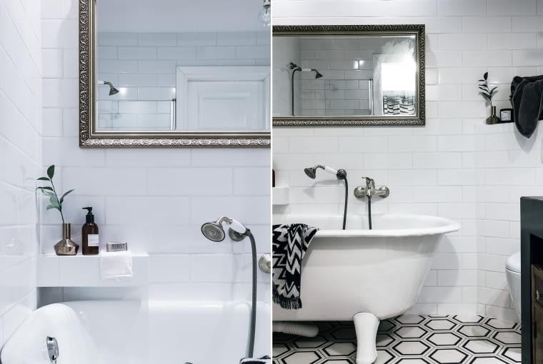 W łazience starą, odnowioną wannę połączono z baterią w stylu retro i bogato rzeźbioną ramą lustra. Heksagonalne płytki Purpury na podłodze i na ścianie ponownie klasyczna cegiełka. Minimal w wersji elegant.