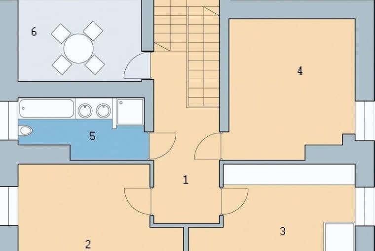 Rzut poddasza: 1. hol 6,4 m2; 2. pokój 20,5 m2; 3. pokój 19,5m2; 4. pokój 16,2 m2; 5. łazienka 6,5 m2; 6. taras 9,5 m2
