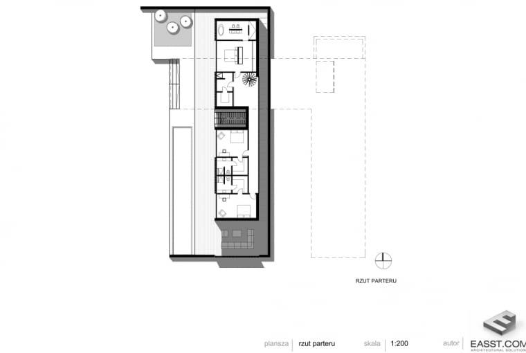 Betonowy dom w Muchocinie pod Poznaniem - rzut parteru