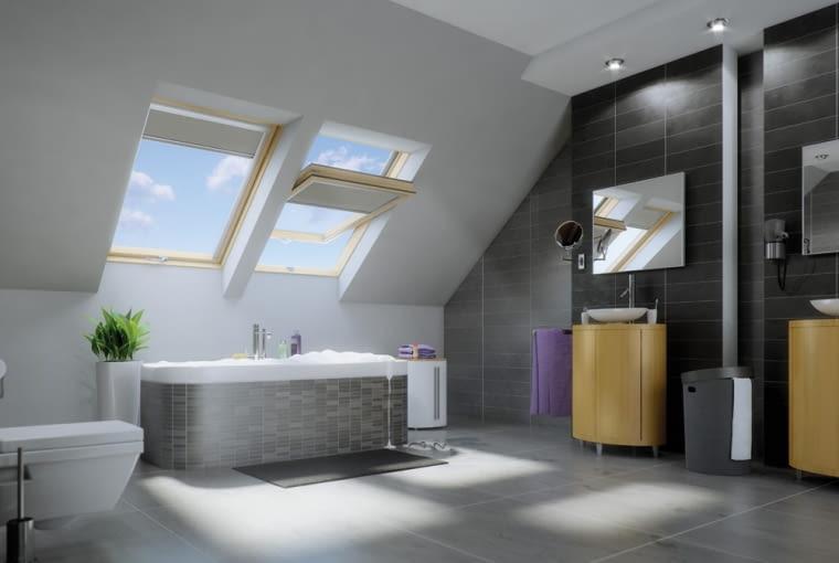 okna dachowe, łazienka na poddaszu