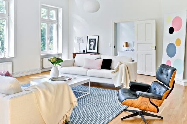 Trzypokojowe mieszkanie w skandynawskim stylu - salon.