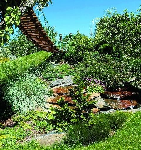 Dzięki interwencji projektanta ogrodu pagórek zyskał jeszcze inne przeznaczenie - utworzono na nim kaskadę