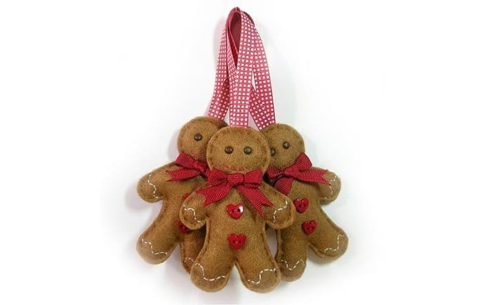 Ozdoba choinkowa z filcu w kształcie piernikowych ludzików, dekoracje świąteczne, DIY, święta