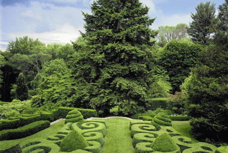 Formal topiary garden with hemlock (Tsuga) tree, Bedford, NY, New York, USA, Designer Hitch Layman
