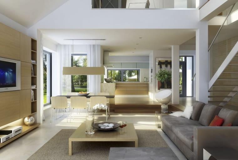dom nowoczesny, antresola, salon