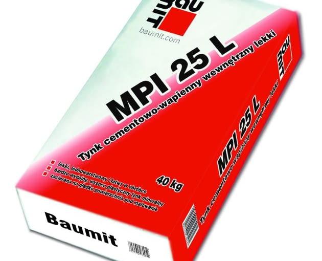 Baumit MPI 25 L - worek 25 kg, cena brutto 17,53 zł/worek - tynk cementowo - wapienny wewnętrzny lekki