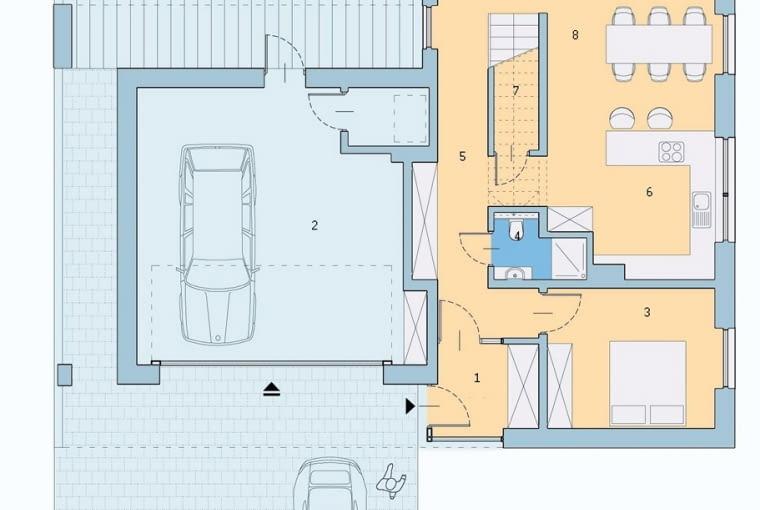 plany architektoniczne, rzut pomieszczeń, parter, dom jednorodzinny