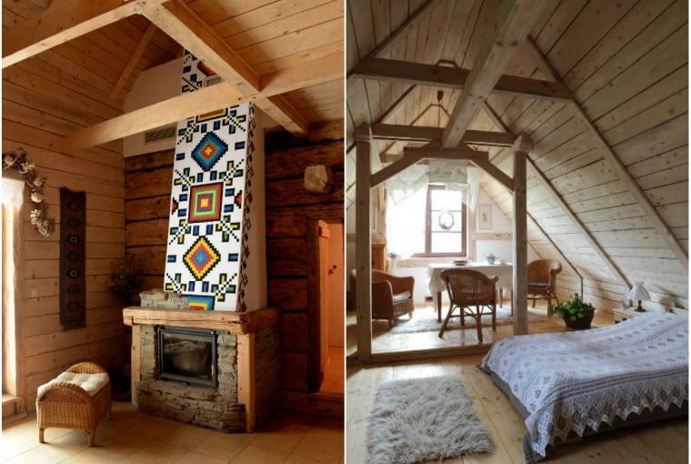 dom na wsi, kominek, poddasze, sypialnia