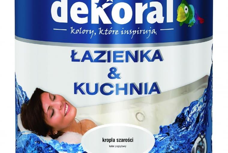 Łazienka & Kuchnia kolor/DEKORAL| Rodzaj: farba lateksowa | wydajność: do 14 m2/l przy jednej warstwie | odporność na szorowanie: klasa 1 wg PN-EN-13300 | 26 kolorów | stopień połysku: satyna | opakowanie: 2,5 l. Cena: 75,93 zł, www.dekoral.pl