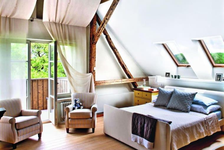 okna dachowe, sypialnia, poddasze
