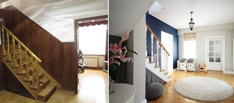 Po lewej korytarz przed remontem. Usunięcie boazerii, zdecydowana zmiana kolorystyki ścian i biała stolarka drzwi oraz schodów nadały pomieszczeniu elegancji i przytulności.