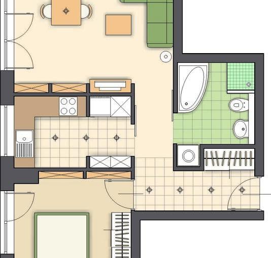 Propozycja 1. Miejsce do jedzenia proponuję urządzić w pokoju dziennym w pobliżu drzwi balkonowych - mieści się tam duży prostokątny stół. W rogu na wprost wejścia zaplanowałam kąt wypoczynkowy z wygodną kanapą i stolikiem. Jest też niska szafka na sprzęt radiowo-telewizyjny oraz regały na książki.