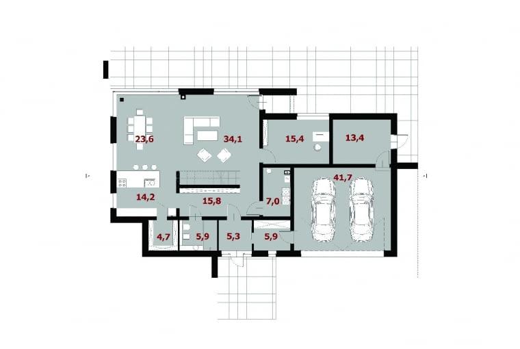 1. wiatrołap 5,3 m2 2. hol 15,8 m2 3. łazienka 5,9 m2 4. spiżarnia 4,7 m2 5. kuchnia 14,2 m2 6. jadalnia 23,6 m2 7. pokój dzienny 34,1 m2 8. pokój 15,4 m2 9. pom. gospodarcze 7,0 m2 10. pom. gospodarcze 5,9 m2 11. garaż dwustanowiskowy 41,7 m2 12. schowek 13,4 m2
