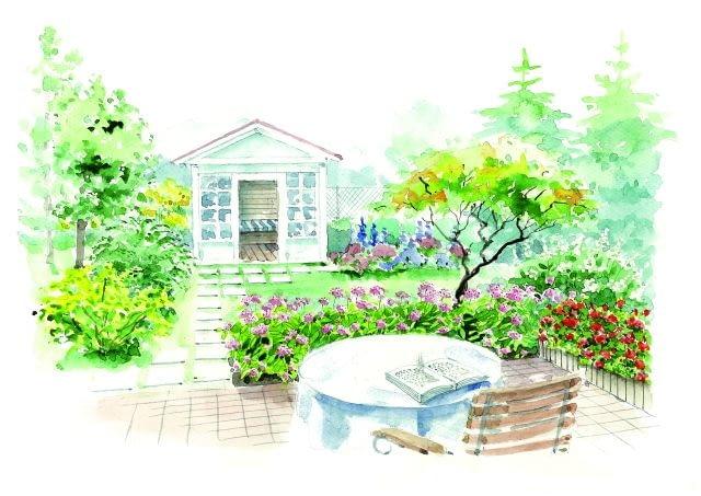 Ogród od zera, projekt ogrodu, projektowanie, projekt ogrodu z biała altanką