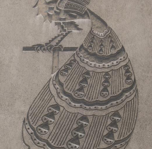 godło: Paw, ul. Filarecka 16, Kraków, proj. Samuel Manber, bud. 1936 - 1937, wykonany techniką sgraffito