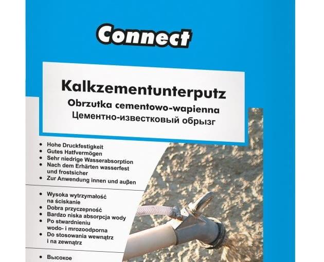Knauf Connect Obrzutka cementowo-wapienna do wnętrz i na zewnątrz budynków, cena netto opakowanie 25 kg: 19,19 zł