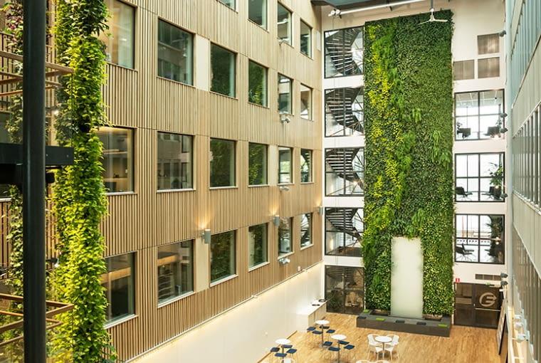 Zielone ściany w Göteborg Energi, Gothenburg, Szwecja