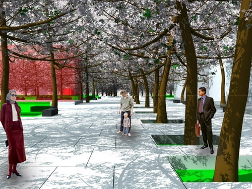 Projekt placu przy ul. Sokolskiej autorstwa Jakuba Manka