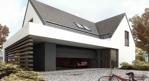 dom jednorodzinny, projekt na zamówienie, garaż