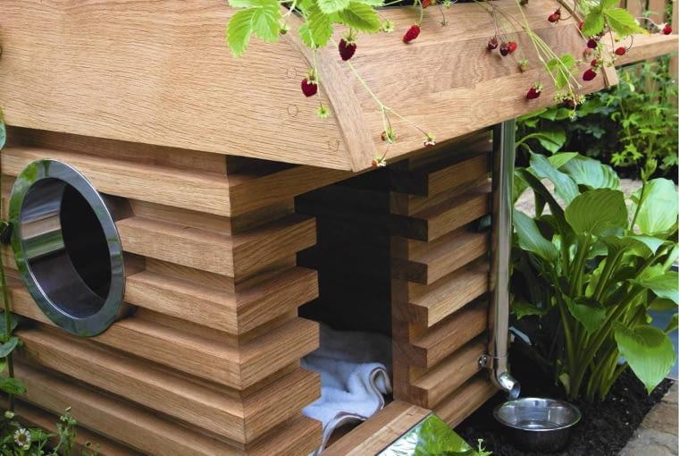 Contemporary dog kennel inspired by a caravan with a living roof SLOWA KLUCZOWE: Dachbepflanzung Erdbeeren Familie Garten Gew´rzpflanzen Haus Haustier Holz Hund Kr uter Schutz Tier Wege aus Holz h^lzern modern zeitgen^ssisch